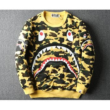 Bape autumn and winter fashion shark camouflage plus velvet pullover sweater F-A-KSFZ yellow