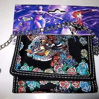 """Multi-Color Ed Hardy Style Fish and Roses Wallet Unisex Men's 4.5"""" x 3"""" W-New!"""