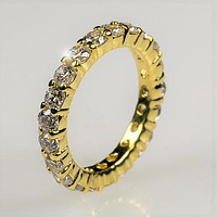 Elizabeth Round CZ Eternity  Gold Ring | 4ct | 18k Gold