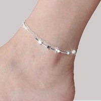 Stylish Ladies Jewelry Cute Gift Sexy New Arrival Shiny Korean Matte Silver Accessory Vintage Anklet [8171776135]