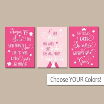 GIRL QUOTES NURSERY Art,Hot Pink Nursery Quotes Wall Art,Sugar and Spice,Let Her Sleep,She Leaves Little Sparkle,Set of 3 Canvas or Print