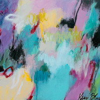 """Colorful Small Abstract Expressionist Painting, Original Wall Art, Blue """"Taking a Different Route"""""""