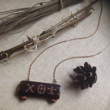 shaman drum • shaman necklace - primitive witch necklace - shaman jewelry - carved horn pendant - finnish jewelry  - witchcraft jewelry