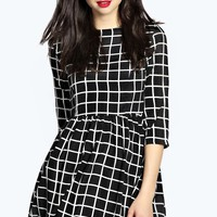 Yazz Large Monochrome Checked Skater Dress