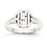 Personalized Round Monogram Signet Ring in Sterling Silver or Solid Gold