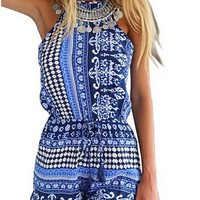 US-Lady Women's Bohemian Print Backless Jumpsuit Playsuit Rompers