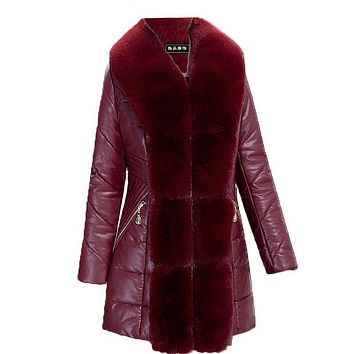 Winter PU Leather Jacket Women 2017 Parka Plus Size Cotton Padded Coat Large Fur Collar Hooded Outerwear Female Warm Clothing