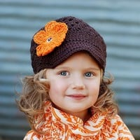 2T to 4T Flower Beanie with Brim Chocolate by CastlegateCrochet