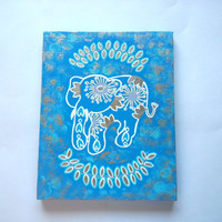 Elephant -Gold and White- fashionable acrylic canvas painting for trendy girls room or home decor