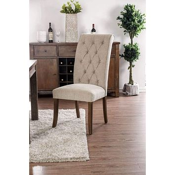 Wooden Fabric Upholstered Side Chair, Ivory And Brown, Pack Of Two -CM3564A-SC-2PK By Casagear Home