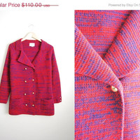 SALE Vintage 60s Red Acrylic Double Breastd Sweater Coat Jacket
