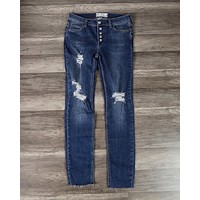 Free People - Reagan Distressed Button Front Jeans in Light Denim