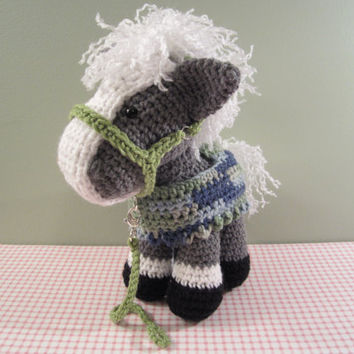 Crochet Toy Horse/Pony with Blanket and Halter, Amigurumi Horse, handmade by CROriginals