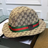 GUCCI New fashion embroidery more letter fisherman hat cap women Khaki