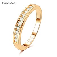 50%OFF!  Gold Color TOP Class 10 pcs Rhinestones Studded Eternity Wedding Ring