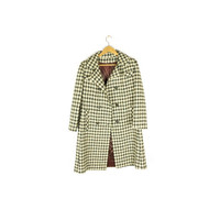 60s hand woven irish wool tweed coat - vintage 1960s - green + cream - plaid - jacket - womens