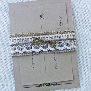Kraft Rustic Vintage Burlap and Lace Belly Band Wedding Invitation