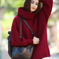 Wine Red Cowl Neck Long Sleeve Jumper
