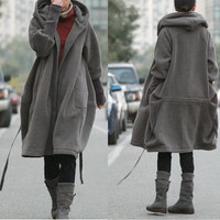 Free Style Zipper Hoodie Jacket with Cotton Lining/ Winter Coat/ GREY and BLACK