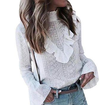 New style women's fashion sexy casual long-sleeved shirt European and American embroidery shirt