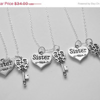 Summer Sale Save15% 3  Sisters Are The Key To My Heart Necklaces