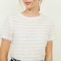 Cream Fluffy Stripe Fine Knit T-Shirt | New Look