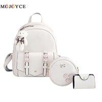 2017 New Backpack Set Women Backpack Small Size Fashion Backpacks for Teenage Girls PU Leather Women's Backpacks with Purses