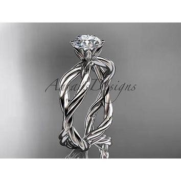 "Reserved!! 14K white gold ""Forever One"" Moissanite rope engagement ring RP8100"