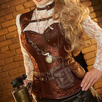 Brown Corselet Corset Gothic Clothing Corsetes