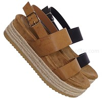 Riri26 Retro Espadrilles Platform Wedge Flatform - Footbed Molded Casual Sandals