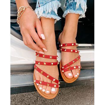 IMPERFECT Alba Strappy Studded Sandals (Wine)
