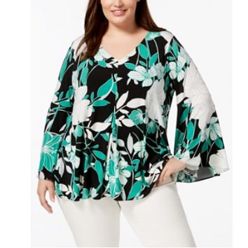 Alfani Plus Size Bell-Sleeve Top, Created for Macy's ,0X
