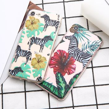 Cartoon Animals Cute Zebra Colorful Plant Soft TPU Phone Case