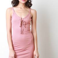 Sleeveless Ribbed Knit Rounded Hem Dress