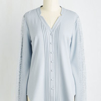 Fairytale, French Mid-length Long Sleeve Collected Coordinator Top in Mist