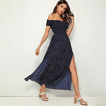 Off Shoulder Frill Trim Shirred Split Thigh Polka-dot Dress