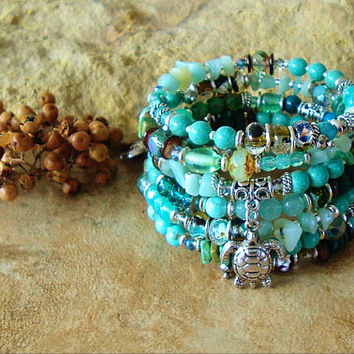 Turquoise Sea Turtle Jewelry, Colorful Beaded Bracelet, Layered Wrap, Deep Ocean Colors, Bohemian Fashion, Gift for Her, by Kaye Kraus