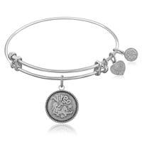 Expandable Bangle in White Tone Brass with Virgo Symbol