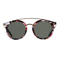 Multi-Hued Transparent Round Sunglasses
