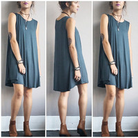 A Potato Sack Dress in Deep Teal