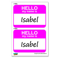 Isabel Hello My Name Is - Sheet of 2 Stickers