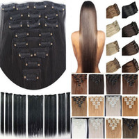 "free shipping 24""(60cm)7pcs set120g-125g 17 colors Long Straight Synthetic Hair Clip in on hair extensions"