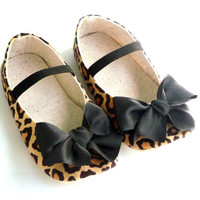 Baby Girl Crib Shoes, Leopard Baby Shoes, Animal Print Baby Booties, Brown, Baby Girl Clothes