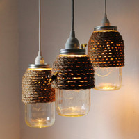 The Hive - Set of 3 - Half Gallon Quart Sized Mason Jar Pendant Lights - UpCycled Handcrafted BootsNGus Lighting Fixture Wrapped in Rope