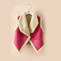 Baby Kids Girls  Warm Vest Sleeveless Waistcoat Lapel Wool Vest Tank Jacket Outerwear 2-7Y HT