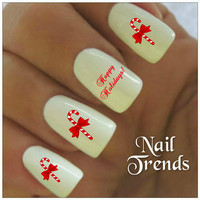 Christmas Nail Decal 20 Vinyl Stickers Candy Canes Nail Art Stocking Stuffers