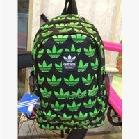 """Adidas"" Casual Sport Laptop Bag Shoulder School Bag Backpack Spell Black green"