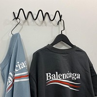 Balenciaga 2020 New Classic Wave Print Round Neck Half Sleeve T-Shirt