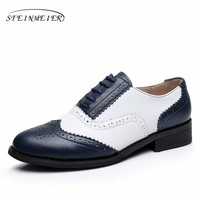 Genuine leather big woman US size 11 designer vintage flat shoes round toe handmade white blue oxford shoes for women with fur