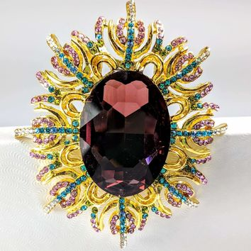 Garden of Beauty Large Crystal Encrusted Brooch Sweater Pin